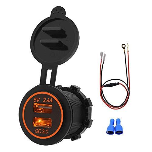 Cargador de Coche USB Socket Mini Dual QC3.0 Port Adaptador de Coche de Carga rápida con línea de 60 cm para Motocicleta, camión, Carrito de Golf Orange