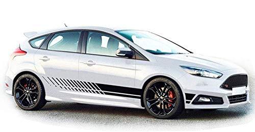 WangsCanis Universal Gestreifte Auto-Aufkleber,Car Racing Body Auto Karosserie Seitenstreifen Aufkleber für alle Autos (Schwarz)