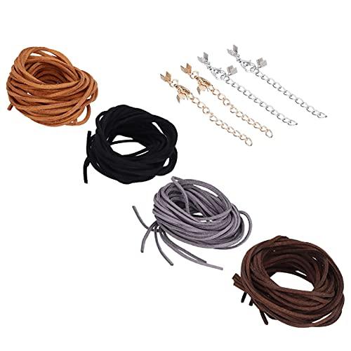 Fydun Cuerda Trenzada Hecha a Mano, Cuerda de Cuero Artificial de Nailon de 4 Colores de 3 mm de Ancho para Hombres, Mujeres, Collar de Bricolaje y Pulsera de la Amistad
