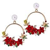 YAZILIND resina flores ronda colgante gota cuelgan Stud pendientes para las mujeres (rojo)