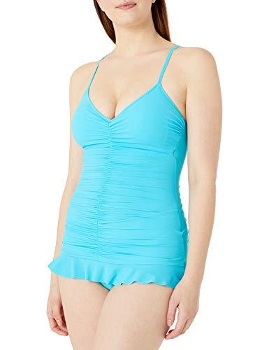 Profile by Gottex Women's Center Gathering V-Neck Swimdress One Piece Swimsuit, Swan Lake Light Blue, 6