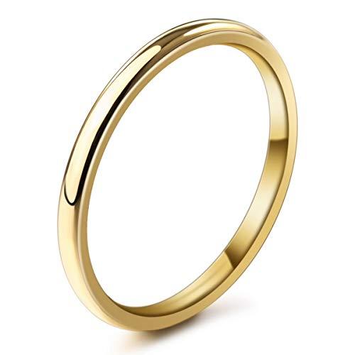 MunkiMix Ancho 2mm Acero Inoxidable Anillo Ring Banda Venda Oro Dorado Tono Alianzas Boda Talla Tamaño 27 Hombre,Mujer