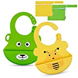 Lictin Lätzchen Baby Lätzchen Abwaschbar Baby lätzchen aus Silikon mit Auffangschale Lätzchen Antibakteriell BPA frei Einfache Reinigung 2pcs