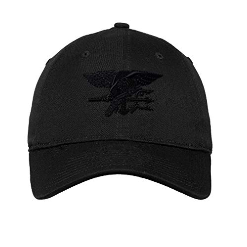 Soft Baseball Cap Navy Seal Black Logo Embroidery Military Insignias Twill Cotton Dad Hats for Men & Women Buckle Closure B Design Only