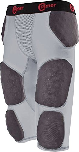 Cramer Thunder 7 Pad Football Girdle With Integrated Hip, Thigh and Tailbone Pads, Designed for Protection from High Impacts, High Hip Pad Coverage, Extra Thigh Protection Padding, Gray, Large