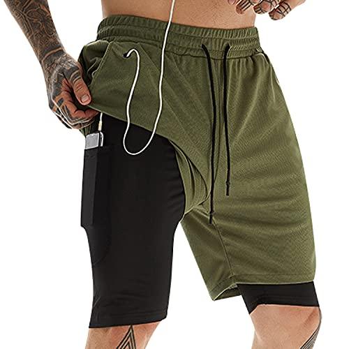 Pantalones Cortos de Gimnasio Running para Hombre , Pantalones cortos deportivos Stealth 2 en 1 Chándal Deportivos Ligeros de Secado Rápido para Entrenamiento de Yoga Al Aire Libre con Bolsillos