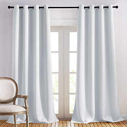 NICETOWN Room Darkening Curtain Panels - Home Fashion Ring Top Thermal Insulated Room Darkening Curtains for Bedroom/Nursery (Greyish White=Light Grey, 2 Panels, 52 inches W x 95 inches)