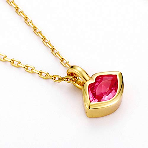 ZHANGQIAN S925 sterling silver plated gold Red Crystal Lipstick Necklace Pendant Necklace,Crystal jewelry for Women for Christmas Birthday Anniversary