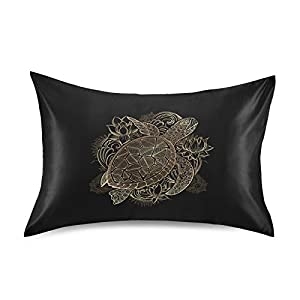 Oyihfvs Gold Hand Drawn Sea Turtle Lotus Flowers on Black Silky Satin Pillowcase for Hair and Skin, Soft Breathable Bed Pillow Cover, Decorative Silk Pillow Cases, Queen Size 20×30 inches