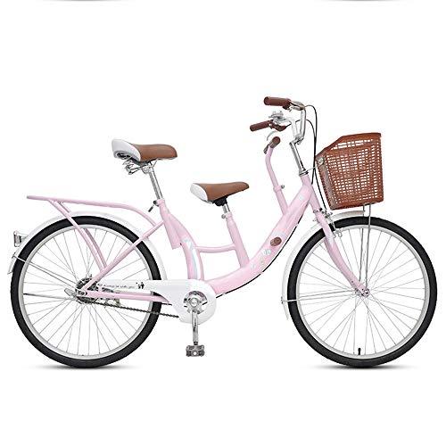 Eltern Kind Fahrrad Mutter Kind Tandem Fahrrad Mit Zwei Sättel Mit Hohem Kohlenstoffstahlrahmen Geeignet Für Reisen Mit Ihrem Baby,Rosa