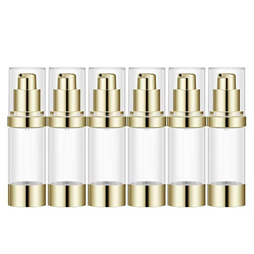 Lil Ray 1 OZ Refillable Airless Pump Bottle, Empty Travel Lotion Container, Plastic Cosmetic Dispenser for Liquid foundation, Lotion, Essential oil, Shampoo (6PCS,Light Gold)