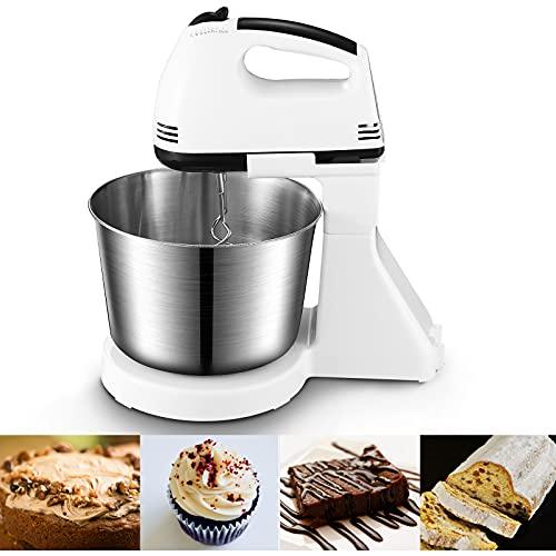 Küchenmaschine Handmixer, Handrührer mit einem Tischständer und 2 L Edelstahl-Rührschüssel, 7 Geschwindigkeiten plus Turbo, 2 Edelstahl-Knethaken und 2 Edelstahl-Rührbesen, 250W