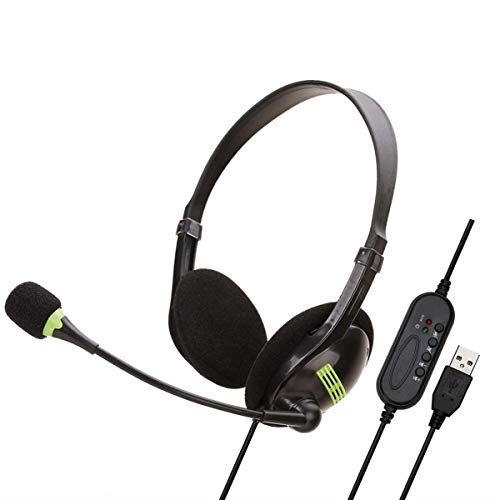 Auriculares USB con micrófono Auriculares supraaurales con interruptor de micrófono Control de volumen Cancelación de ruido Boom Mic para teléfonos celulares PC Tableta Oficina en casa