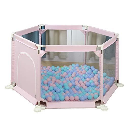 Childrens playpens Grafika dla niemowląt Baby Fence Indoor and Outdoor Play dla 0-4 AGES Bezpieczeństwo dla dzieci Porcjach czołganie Mata 3 Opcje kolorów (Color : Pink+Crawling mat)
