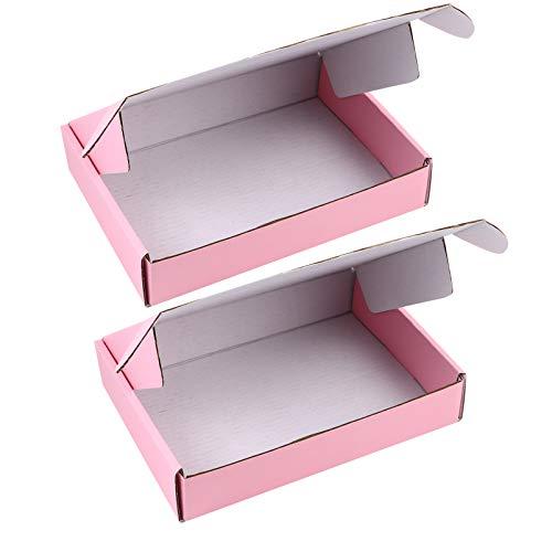 STOBOK Versandkarton Wellpappe Faltkarton DIY Falten Rosa Karton Pappboxen 200x140x40mm 10pcs Geschenke Bücher Ordner Schmuck Verpackungsschachteln Geschenkboxen Verpackungsbox