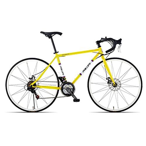 Bicicleta De Bicicleta De Carretera para Hombres 68 Cm Bicicleta De Marco para Adultos Bicicleta Bicicleta Bicicleta Dual Disco Freno Bicicleta Bicicleta para Hombre, 21 Velocidad(Color:Amarillo)