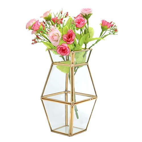 Blumen Vase Polygon Glas Vase Metall Pflanz Gefäß Gold Terrarien Glas Vorrats Behälter für Make-up Pinsel Kosmetik Schreibwaren Haushalts Gegenstände