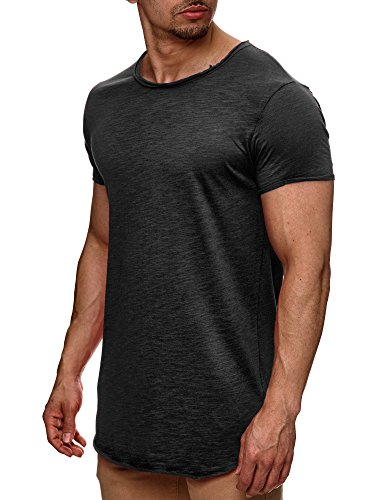 Indicode Herren Willbur Tee T-Shirt mit Rundhals-Ausschnitt aus 100% Baumwolle | Regular Fit Kurzarm Shirt einfarbig od. Kontrast Markenshirt in 30 Farben S-3XL für Männer Raven S