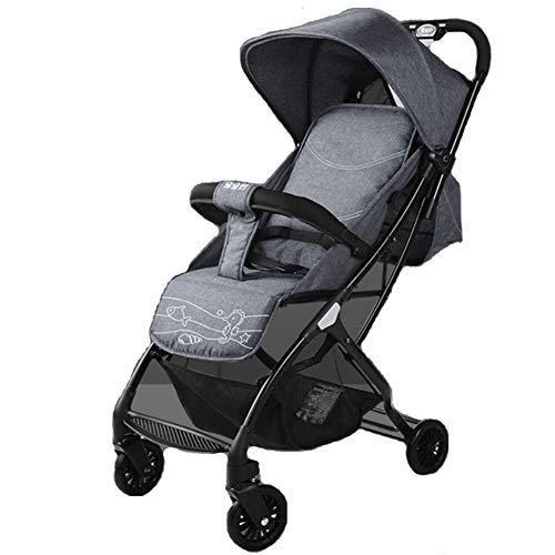 Rápida Plegable Cochecito de bebé Portable - Sistema de Viaje Viaje de Mothercare, Carro de bebé a Prueba de Golpes y sillas de niños Desde el Nacimiento, Apto for bebés de 0 a 3 (Color : Gray)