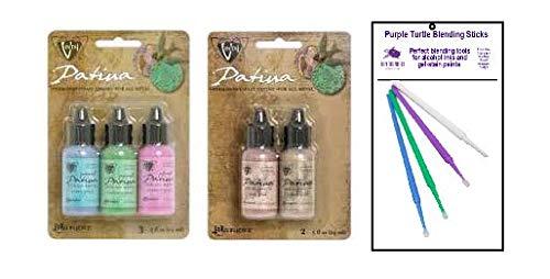 Ranger Vintaj Patina Bundle - Patina Ink Collections for All Metal with PTP Flash Deals Blending Sticks (Collection 5)