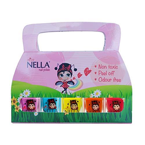 Miss Nella Sommerzeit Special - 5er Pack Kinder Nagellack mit Peel-off-Formel auf Wasserbasis...