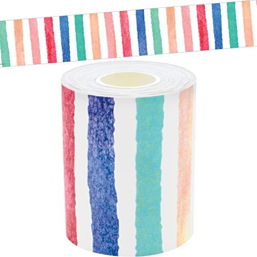 Teacher Created Resources Watercolor Stripes Straight Rolled Border Trim - 50ft - Decorate Bulletin Boards, Walls, Desks, Windows, Doors, Lockers, Schools, Classrooms, Homeschool & Offices