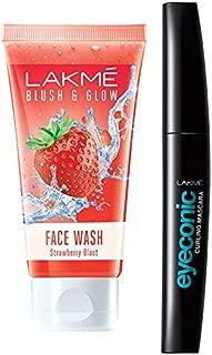 Lakmé Blush and Glow Strawberry Gel Face Wash, 100g & Lakme Eyeconic Lash Curling Mascara, Black, 9ml