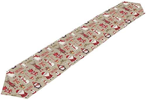 Camino de mesa largo de poliéster de doble cara, 33 x 70 cm, diseño de animales navideños