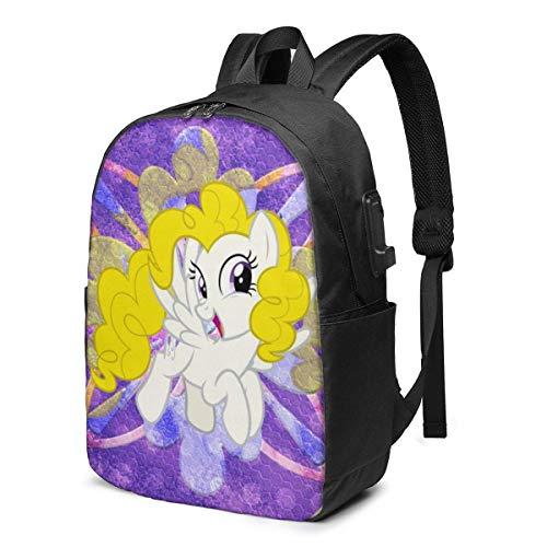 Lawenp Simpatico Zaino per Laptop My Little Rainbow Pony - con Porta di Ricarica USB/Zaini Impermeabili Casual Eleganti Si Adatta alla Maggior Parte dei Laptop e Tablet da 17/15,6 Pollici/per