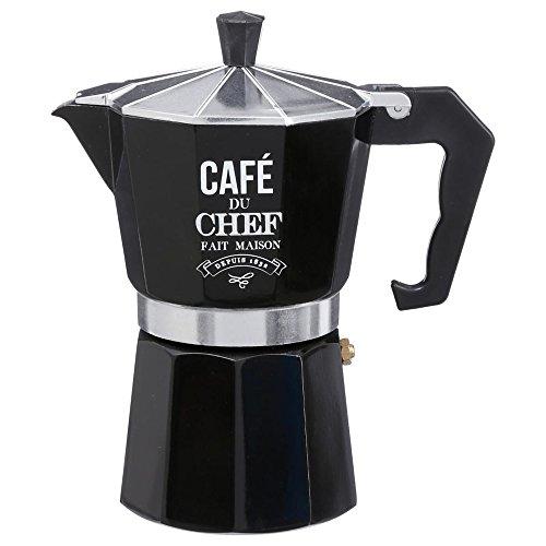 Secret de gourmet Espresso Cafetière Italienne à Expresso Noir Hauteur 19 cm