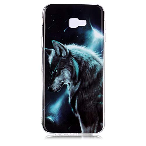 QC-EMART 3PCS Cases for Samsung Galaxy J4 Plus Soft Silicone TPU Gel Back Case Protective Cover 3D Cool Cute Animal Pattern Shockproof Protection Bumper Covers Blue Wolf Cat Tiger Smile Face