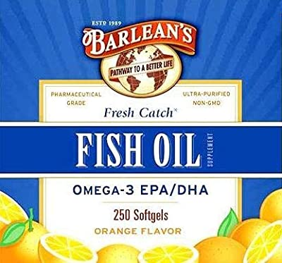 Barlean's Organic Oils Fresh Catch Fish Oil, Omega-3, 1000mg EPA/DHA, Orange Flavor, 250 softgels