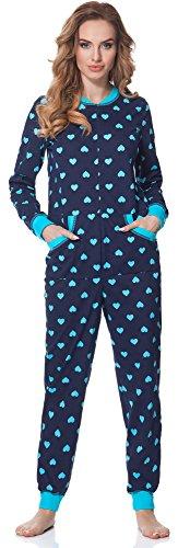 Merry Style Damen Schlafanzug Strampelanzug Schlafoverall MS10-175 (Dunkelblau (HerzenTürkis), XL)