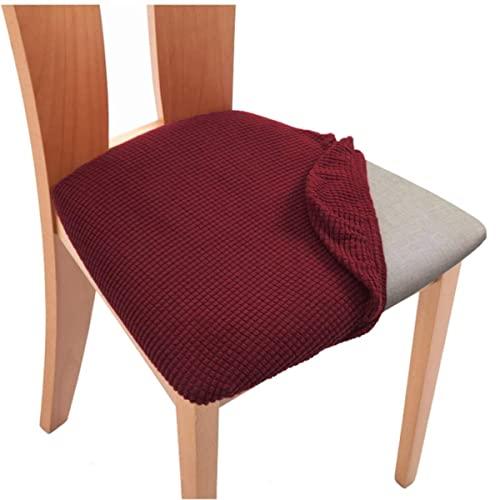 Coprisedili per sedie da sala da pranzo in jacquard in spandex impermeabile Coprisedili per cuscini elastici spessi per la sala da pranzo Sedia da ufficio per matrimoni-vino rosso, 1 pezzo impermeab