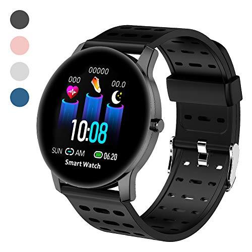 Polywell Fitness-Tracker, Smartwatch Aktivitätstracker mit Herzfrequenz-Monitor und Schlaf-MonitorSchrittzähler und Kalorienzähler (Black)