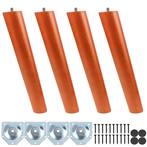 4 patas de madera para muebles, patas de 25 cm de madera maciza cónica, patas de repuesto para muebles con placa de montaje, tornillos y alfombrillas antideslizantes para