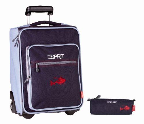 Esprit ESSB 213004 B School Set Trolley und Mäppchen ca. 43 x 30 x 22 cm Blue Heli