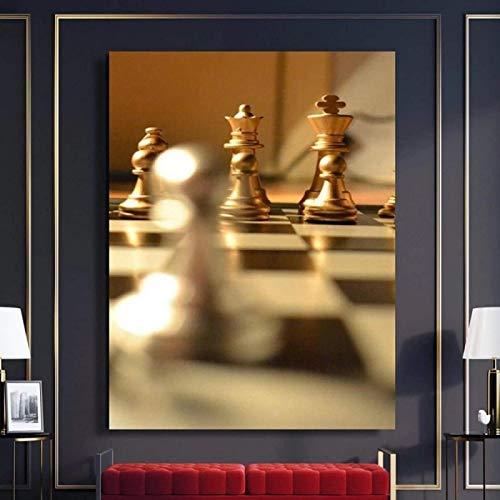 SHYJBH Moderno Abstracto 20x30 cm sin Marco Arte de la Pared Carteles Exquisito Tablero de ajedrez Mural Decoración de Oficina Cartel de jardín Lienzo Arte decoración año Nuevo