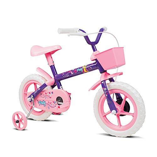 Bicicleta Infantil, Verden, Paty - Aro 12 com cestinha e rodinhas, Lilás/Rosa