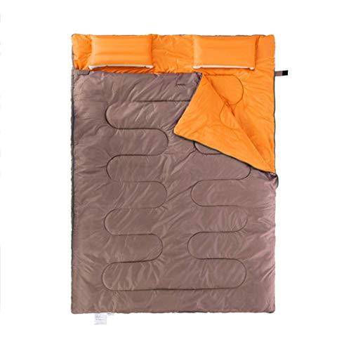 Sac de couchage de camping sac de couchage d'extérieur double sac de couchage épaississement grand espace respirant détachable (couleur : vert) marron