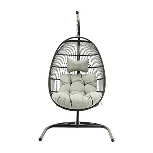 BMNN Wicker Hanging Chair Indoor Outdoor Patio Wicker Hanging Chair Swing Hammock Chairs UV Resistant Cushions with Frame Capaticy for Patio Backyard Balcony Wicker Hanging Chair