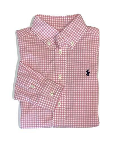 Ralph Lauren Polo Shirt Kids Gingham Long Sleeve Top Size 10-12 (Medium) Pink