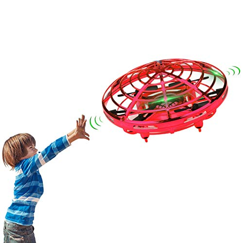 Lumsburry Hand Operated Mini Drone for Kids, Flying Ball Toy UFO Helicopter Infrared Induction Quadcopter with LED Light 360 Degree Rotation (Red)