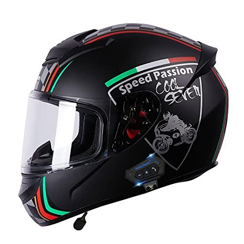 Cascos de Motocicleta Bluetooth Visor Modular Delantero Casco de Moto de Motocicleta ECE/Dot 2205 Aprobado para Mujeres Hombres Adultos I,L
