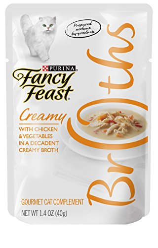 Purina Fancy Feast Broth For Cats, Creamy, With Chicken & Vegetables, 1.4-Ounce Pouch, Pack Of 32