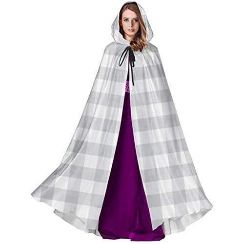 Zome Lag Deluxe omhanging, voor volwassenen, vampierkostuum, hekmagie omhang,kap met capuchon, grijze Gingham-stof, de naadloze capuchonmantel voor volwassenen