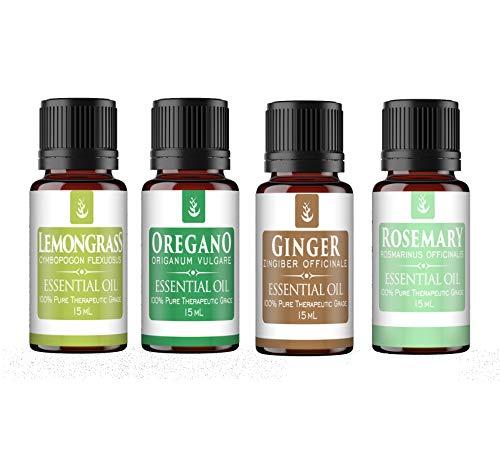 Cooking Essential Oil 4 Piece Gift Set (Full Size 15 ml Bottles) Ginger, Oregano, Lemongrass & Rosemary, Food Safe