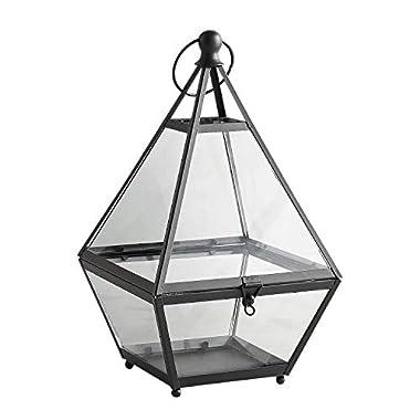 Pier 1 Imports Eldridge Black Pyramid Metal Terrarium Decorative Lantern Candle Holder