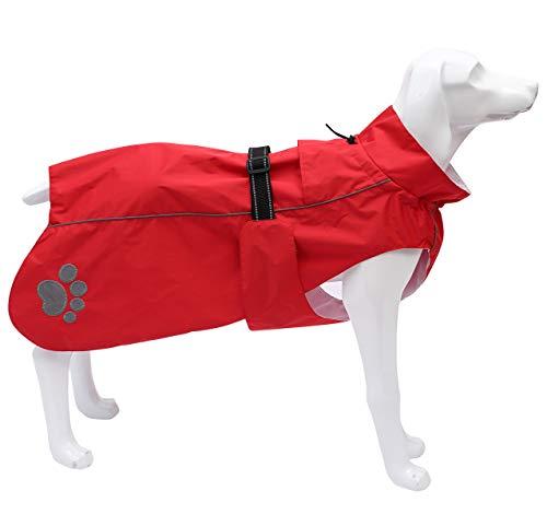Hunde-Regenmantel Regenponcho für Hunde, Regenkleidung für Hunde, Hundekleidung mit verstellbaren Bändern und Kordelzug, Passform für mittelgroße große Hunde - Rot - XXXL