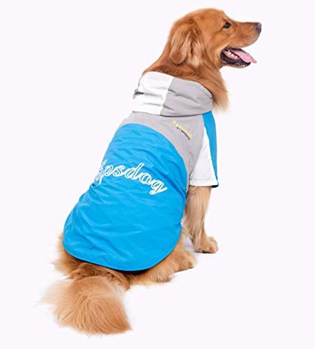 BPS Chubasqueros Impermeables para Mascotas Perros, Impermeables con Capucha para Perro Mediano y Grande 3 Colores para Elegir con Material 100% Poliéster (Azul+Gris, 50cm) BPS-9105AZ